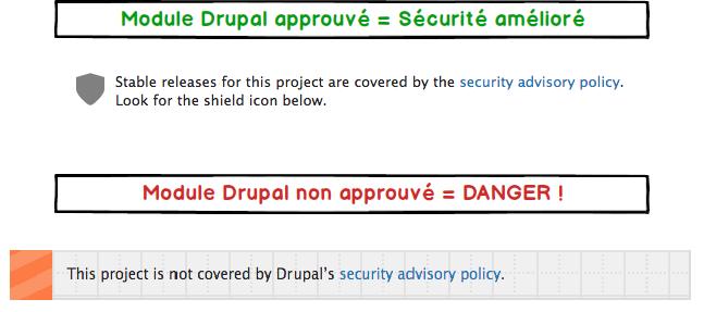 Modules approuvés sur Drupal